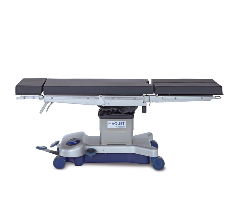 The Maquet Betaclassic fulfills all the user requirements of being a manual hydraulic table. It is suitable to many surgical disciplines and is easy to use. It has a multiple-section table top allowing varied patient positioning. The Maquet Betaclassic is pedal-operated with ergonomically arranged control elements. With its low table height, the surgeon can work conveniently when seated.