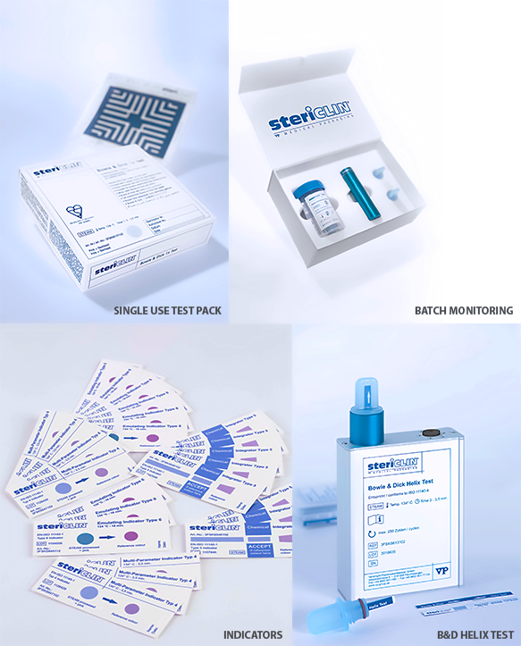 Chemical indicators for monitoring the sterilisation process and to supplement the parametric process documentation.