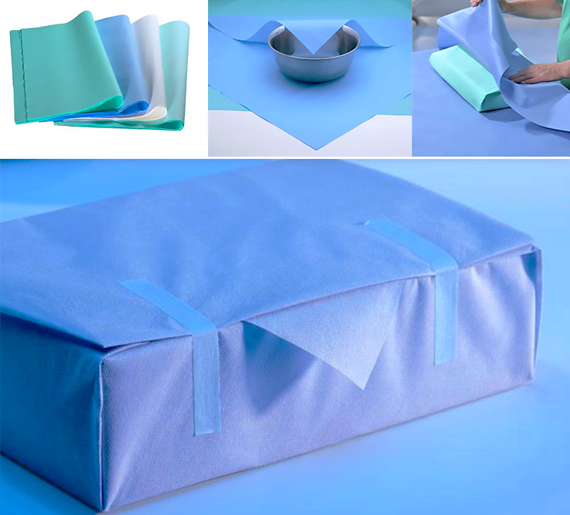 Stericlin® wrapping material made of non-woven polypropylene (SMS) are extremely tear-resistant, robust and drapable non-woven, made of pure synthetic fibers, which are suitable for all types of wrapping material.