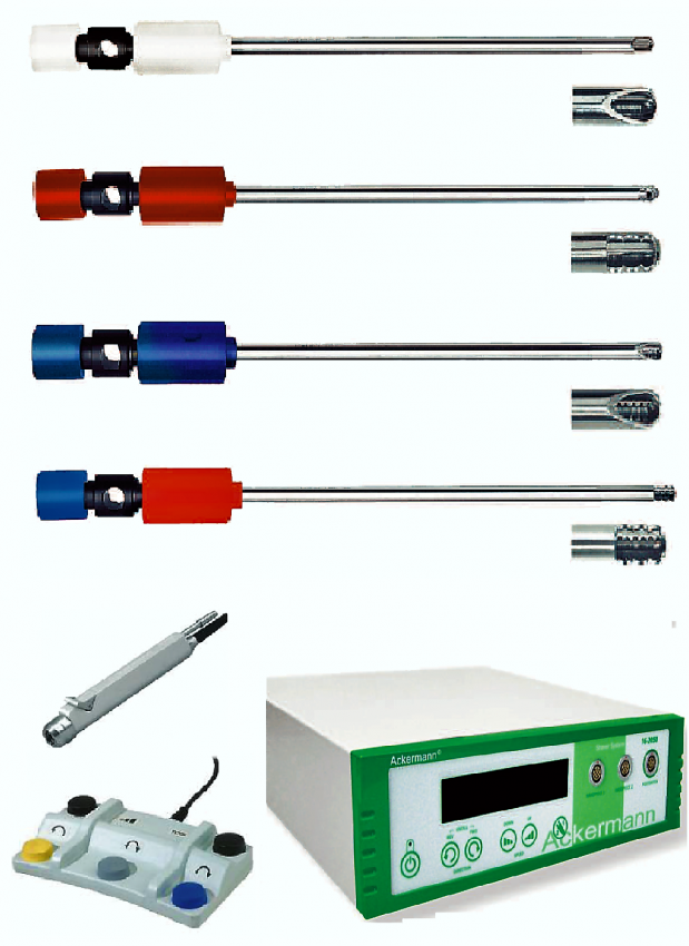 Arthroscopy Shaver System comes with handpiece and footswitch. It allows the possibility to connect two tools at the same time. The blades can be reusable or disposable. Available blade tips include: Full Radial Recetor, Meniscus Cutter, Aggressive Full Radius Resector, and Incisor.