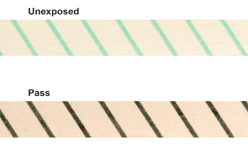 The Getinge Assured Green Tape is lead free and the process indicator link banded across is green instead of white. It transitions from green to the same black color.