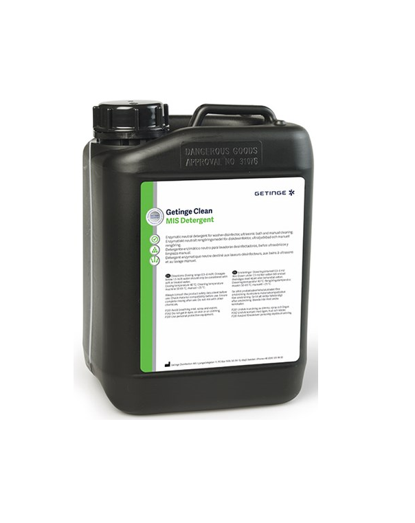 Getinge Clean MIS Enzymatic Detergent is a biofilm-removal multi-enzymatic detergent designed for use on automated washer disinfectors with great material compatibility.