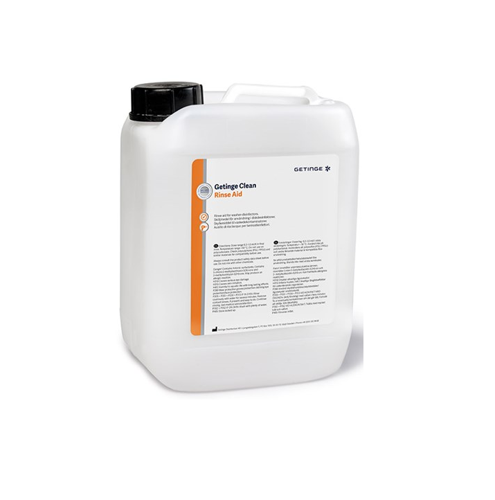 Getinge Clean Rinse Aid is a concentrated, pH neutral formulation used in the final rinse of washer disinfector cycles to speed up the drying process of surgical instruments, utensils and equipment. Prevents water spots from forming on surfaces.