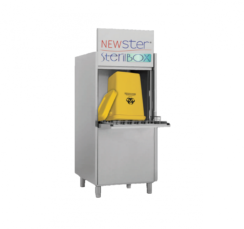 Newster Sterilbox is a machine used to wash and sanitize hospital waste containers made in special plastic materials. The ultraviolet lamps have a microbiocidal action and sterilize the surfaces, liquids and air inside the washing chamber. The bactericidal activity of the ultraviolet radiation inactivates the DNA and RNA nucleic acids of cells, acting on the pyrimidine bases (thymine, cytosine, uracil) to trigger the formation of atypical dimers that destabilize the hydrogen bond with the complementary bases and impede the normal replication processes of the nucleic acids. The position of the lamps ensures uniform irradiation in the entire compartment, thereby guaranteeing the exposure of all container surfaces to the germicidal action of the ultraviolet lamps.