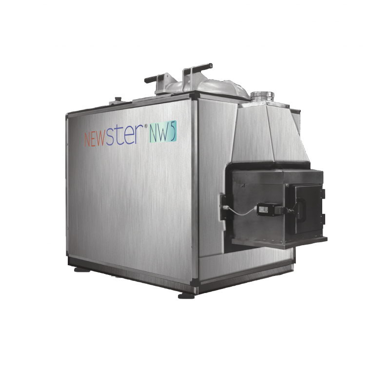 Newster uses FHT (Frictional Heat Treatment Technology). Inside a closed sterilization chamber, a powerful rotor fitted with blades treats the waste by impact and friction, grinding it finely, to reach the temperature of 150°C. The energy produced induces the temperature required for sterilization, therefore the process does not require pressure steam inside the chamber. The Newster NW5 machine was designed for use in small hospitals. NW5 is designed to allow the system to work for several shifts.