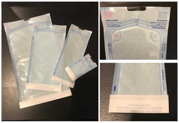Easy and safe packaging – no sealing device needed with Stericlin® Self Seal Pouches. The medical grade paper forms an effective barrier against germs but is permeable to air, vapor and sterilizing gases. Dual indicators (type 1) for STEAM and EO sterilization can be found inside and outside the filling area.