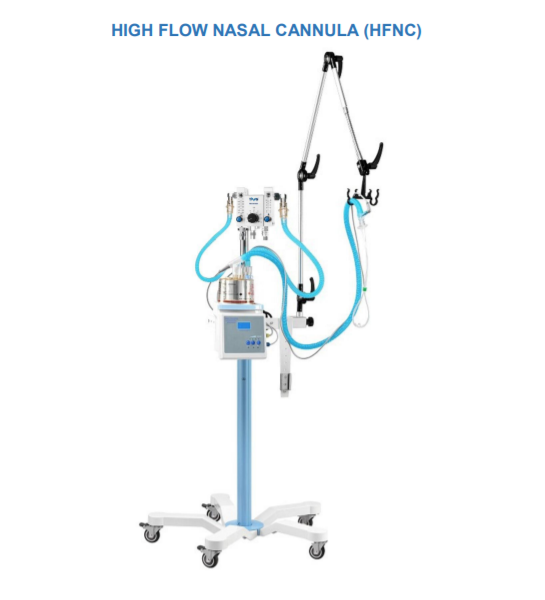 High flow nasal cannula (HFNC) therapy is an oxygen supply system capable of delivering humidified and heated oxygen (31 to 37 ℃) at a flow rate of up to 60L / min to patients with acute respiratory failure across all age groups.