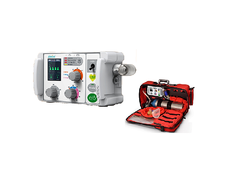 AII6000S transport ventilator is a portable and easy operation using three (3) knobs for flexible parameter adjustments and guided by innovative voice directions, this transport ventilator comes with three ventilation modes and can last up to ten (10) hours working time.